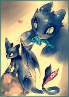HTTYD + Toothless + Fish by RainbowBile