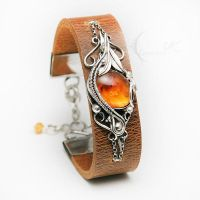 ENTURIONX Silver Amber Citrine Leather by LUNARIEEN