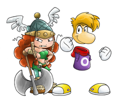 Rayman and Barbara by Nintendrawer