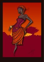 African Sunset 1 by Kamame