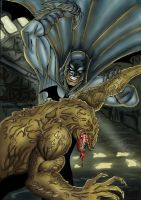 Batman vs Killer croc colour by dushans