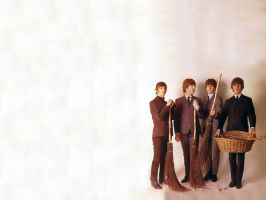 The Beatles with basket by imtheeggman