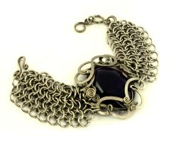 Wire Wrap Chainmaille Bracelet with Amethyst stone by hyppiechic