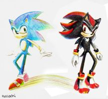 Color Pencil : Sonic Shadow by chobitsG