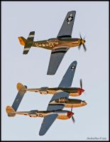 P-51Mustang and P-38 Lightning by AirshowDave