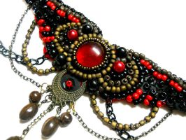 Red Black chocker necklace bead embroidery by AniDandelion