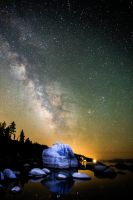 Night Sky Over Tahoe's Bonsai Rock by sellsworth