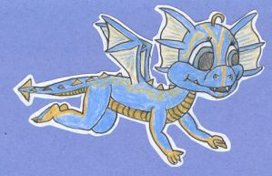 Blue and Gold Baby Dragon by cerberadragon