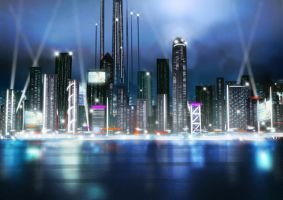 City nightscape by ThoRCX