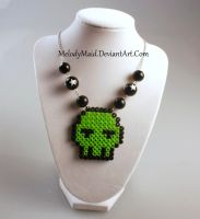 Perler Necklace - Zombie Skull by MelodyMaid
