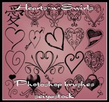 Hearts-N-Swirls PhotoshopBrush by seiyastock