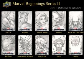 Marvel Beginnings 2 sketchcards - Set 1 by theopticnerve