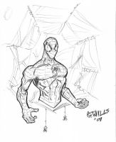 Spidey pen sketch by Glwills1126