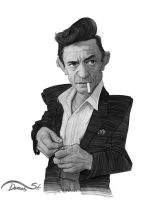 Johnny Cash Caricature Sketch by StDamos