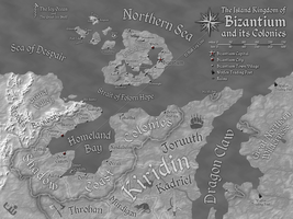 Bizantium and its Colonies Map (Greyscale) by FeroceFV