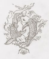Yin and Yang Koi Fish by RobinEvaFayEmbry