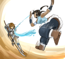 Commission for SillySuppiSun - Kel v Korra by Minuiko