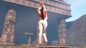 Mai Shiranui Stretching Out In The Sun Rear View by Tommy-TheDirtDen
