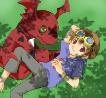 Takato and Girumon by mireikko