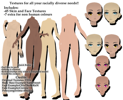 [MMD] TDA Skin and Face Textures DL by RYuinkaPro