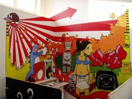 mural on shakees wall by mr-membrane