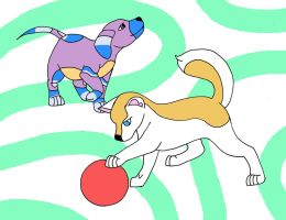 Me and Shimer as puppies by randomcatgirl