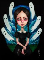 girl and ghosts by BlackFurya