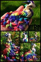 Rainbow Peacock Dragon  by HereThereBeSculpture
