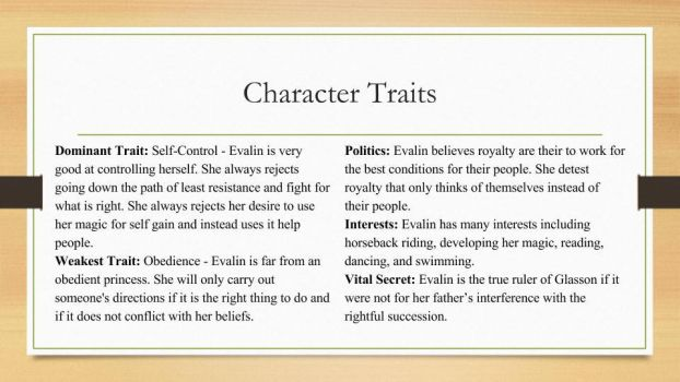 My OC  Evalin's Character Traits by LeBelleDouleur