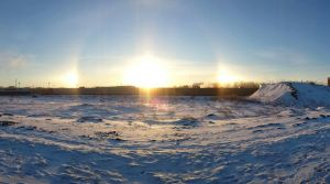 Winter Sunrise (Sundog) - Jan 2014 by RoxieIsAlive