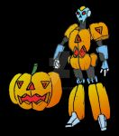 pumpkin robot against black by pittstop