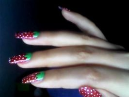strawberries nails by angelvivi