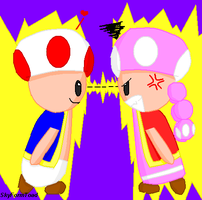 Toad VS Toadette X3 by SkyFormToad