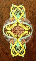 Celtic Birds colorful wooden pyrography plaque by YANKA-arts-n-crafts