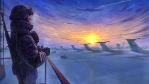 morning on the airfield by StarWolfEmperial