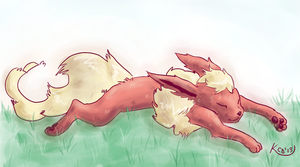 Sleeping Flareon by Kinetic-duet
