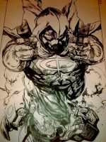 Inking Process Moon Knight 3 by DaveLungArt