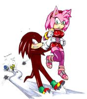 Knuckles x Amy - Gotta save the girl first by Amortem-kun