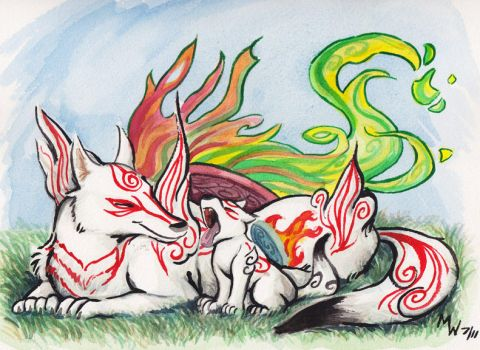 Okami - Sun and Son by LynxGriffin