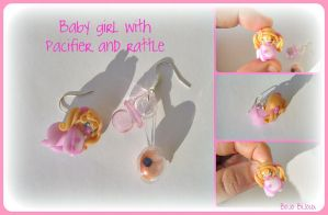 Baby girl with pacicfier and rattle Earring by Bojo-Bijoux