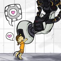 GLaDOS x Chell: Companions by Electrical-Socket