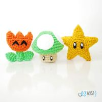 Fire Flower, Green Mushroom, and Star set, from Ma by CyanRoseCreations