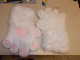 FOR SALE - White Feline Hand Paws by Que-Sera-Sera