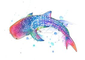 Rainbow Whale Shark Watercolor Painting by CazziArt
