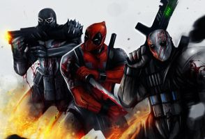 DEADPOOL VENOM ARMY OF TWO by suspension99
