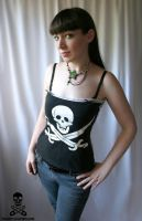 Pirate Skull Stripe Corset by smarmy-clothes