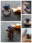 Copper Wire Ring With Natural Lapis Lazuli by TangledWorld