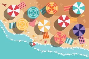 Summer beach in flat design, aerial view by BlueLela