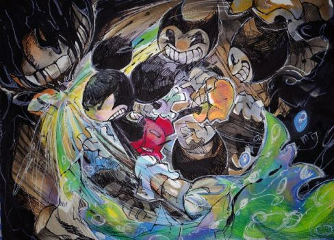 Mickey vs The Ink Demon by Mitsuki-Chizu