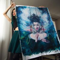 Me and my queen - XXL hand-embellished print by TanyaShatseva